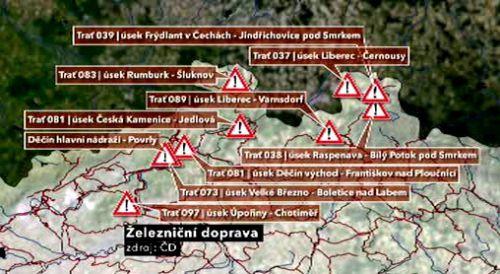Přerušené tratě v  severních Čechách
